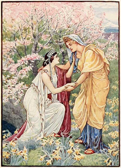 Deméter junto a su hija Perséfone. (Public Domain)