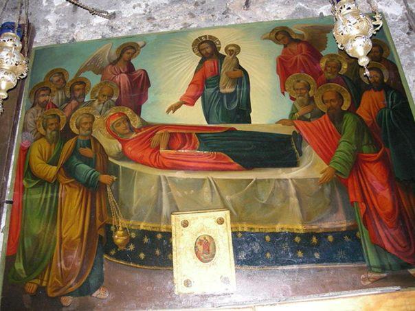 Icono de la Dormición de la Theotokos (Virgen María), Iglesia de la Dormición (Tumba de María), Jerusalén. (Public Domain)