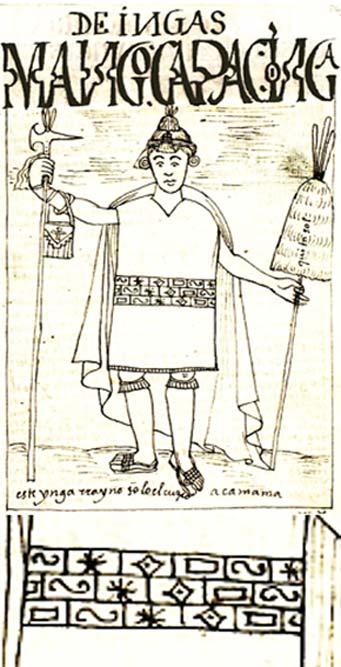 """Manco Cápac, ilustración de la """"Nueva crónica"""" de Felipe Huamán Poma de Ayala y detalle de los símbolos que decoran las ropas del rey inca. (Dominio público)"""