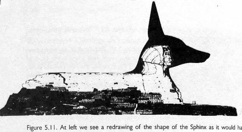 Otra posibilidad: la esfinge como posible representación del dios-chacal egipcio Anubis (Imagen: Historia Enigmática)