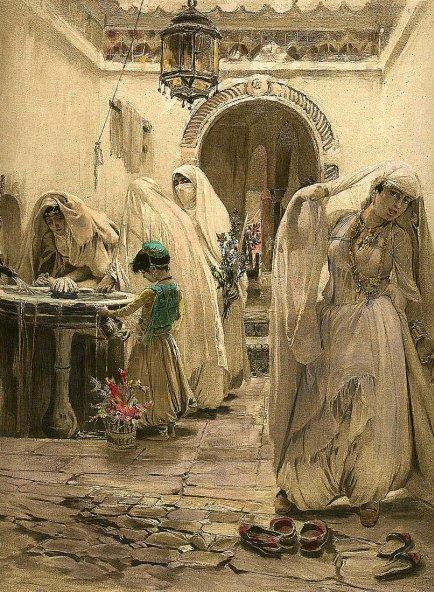 'La fuente del harén' (1875), óleo de Frederick Arthur Bridgman. (Public Domain)