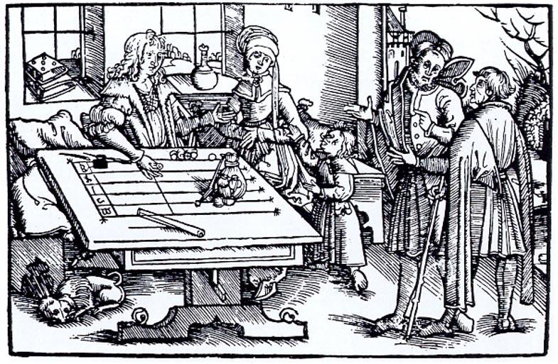 Grabado en madera en el que podemos observar a diversos personajes en torno a una mesa de cálculos (probablemente en Estrasburgo), en la que se habrían empleado 'jetons,' en español, getones. ( Public Domain )
