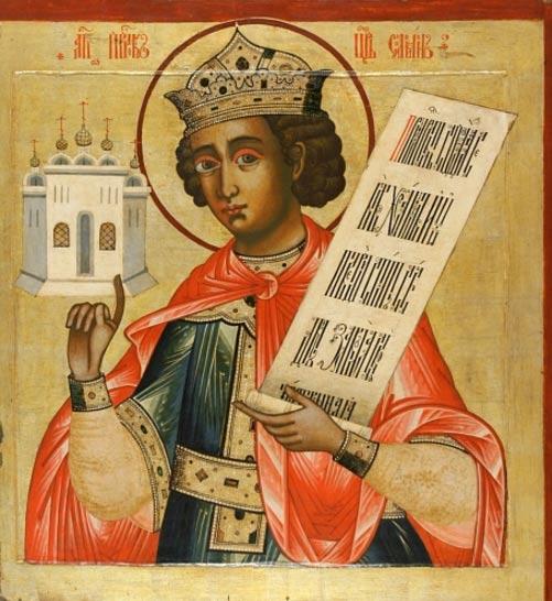 Icono ruso del rey Salomón. Se le representa con un pequeño Templo sobre su mano derecha (siglo XVIII, iconostasio del monasterio de Kizhi, Rusia). (Public Domain)