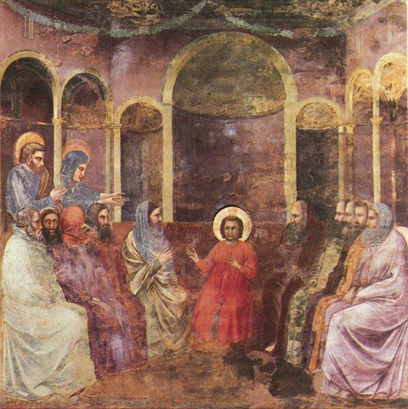 Jesús, a la edad de 12 años y tras desaparecer durante tres días, es encontrado por sus padres debatiendo con los maestros. En la imagen, Jesús entre los doctores, fresco de Giotto (1306). Capilla Scrovegni, Padua, Italia. (Public Domain)