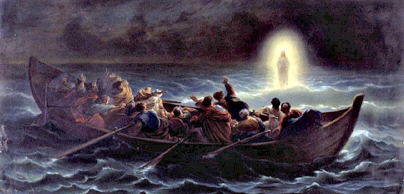 Jesús caminando sobre las aguas, óleo de Amédée Varin (1818–1883) (Public Domain)