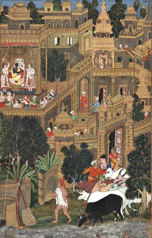 Krishna en Dwaraka. Lámina del Harivamska del año 1600. (La Gran Época)