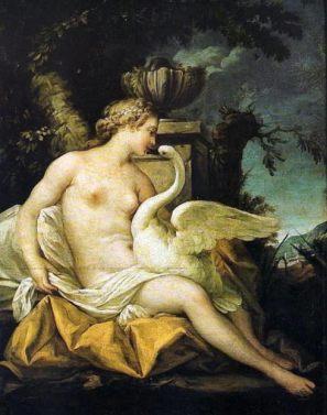 Leda y el Cisne. Jean-Baptiste Marie Pierre (Public Domain)