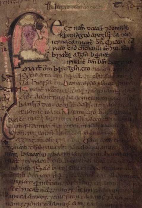 Folio 53 del Libro de Leinster. El Lebor Gabála Érenn se encuentra en más de una docena de manuscritos medievales, siendo el Libro de Leinster únicamente una de las fuentes principales por las que conocemos su texto. Dublín, TCD, MS 1339 (Public Domain)
