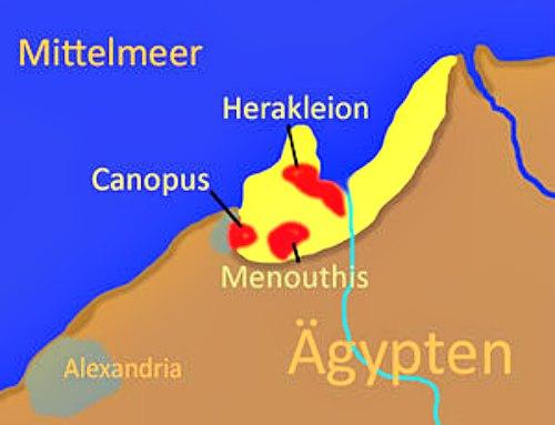 Mapa con la localización de las antiguas ciudades de Canopo y Heracleion. Alejandría, fundada por Alejandro Magno, se encontraba a 25 kilómetros de Canopo. (Public Domain)