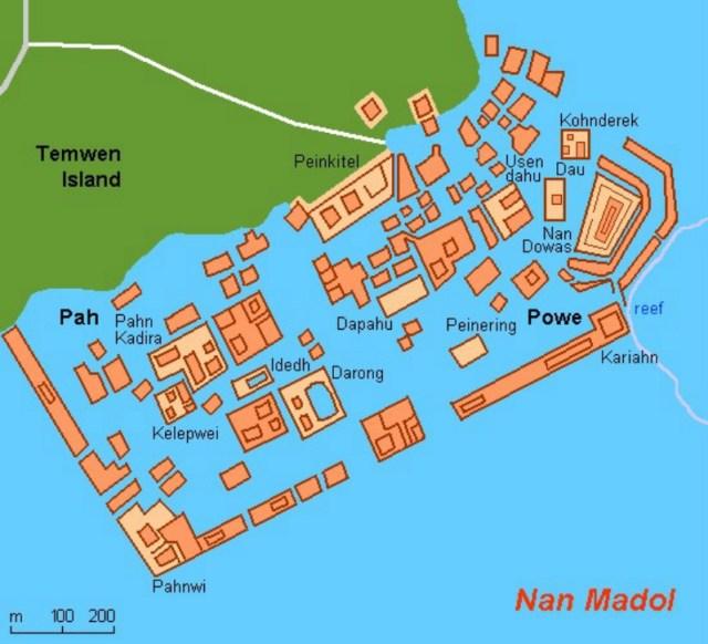 Mapa de las antiguas ruinas de Nan Madol, construida sobre islas artificiales junto a la isla de Temwen, posible vestigio de una antigua ciudad perdida sumergida. (La Gran Época)