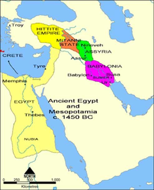 Mapa del antiguo Próximo Oriente en el siglo XV a. C. (Período Medio Asirio), en el que podemos observar el corazón del territorio dominado por Asiria con sus dos principales ciudades (Dominio público)