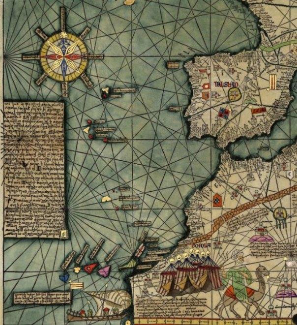 Mapa de las islas occidentales. Atlas Catalán de Abraham Cresques, 1375. (Public Domain)