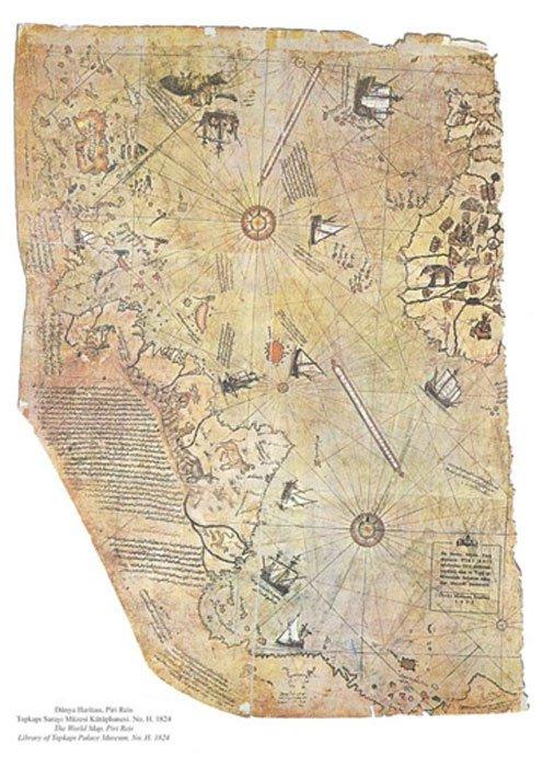 Mapa del mundo obra del almirante otomano Piri Reis, dibujado en el año 1513 pero supuestamente basado en mapas mucho más antiguos. (Dominio público)