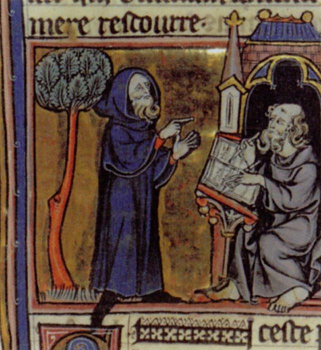 Merlín dicta sus profecías a su escriba Blaise; miniatura francesa del siglo XIII, ilustración del Merlín en prosa de Robert de Boron escrito en torno al año 1200. (Public Domain)