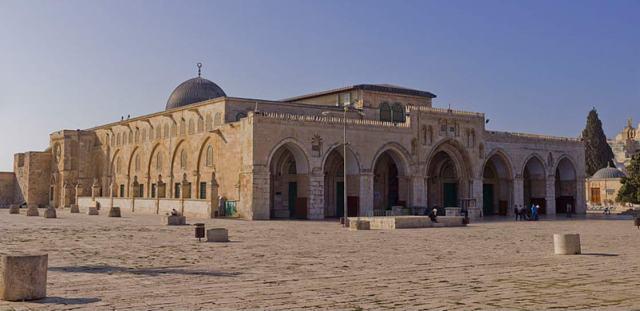 Fachadas norte y este de la mezquita de Al-Aqsa en el Monte del Templo, Ciudad Vieja de Jerusalén, Israel. (CC BY SA 3.0)