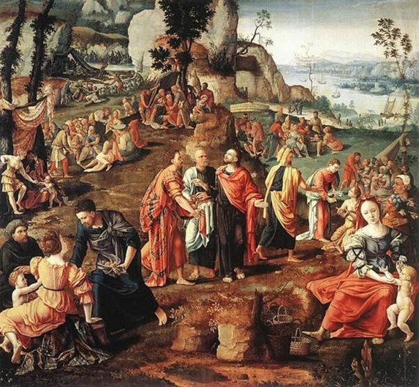 'El milagro de los panes y los peces', óleo de Lambert Lombard. (Dominio público)