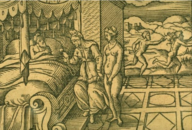 'Mirra y Ciniras'. Grabado de Virgil Solis para las 'Metamorfosis' de Ovidio, Libro X, págs. 298-475. (Dominio público)