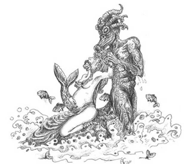 Un quinotauro, especie de monstruo marino, posee a la esposa del rey Clodión, que se queda embarazada de este modo del futuro rey Merovec. Ilustración de Andrea Farronato (Public Domain)
