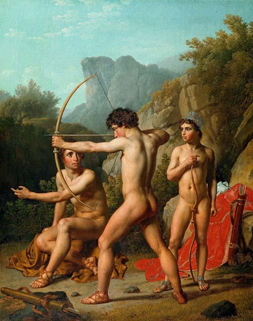 Tres muchachos espartanos practican el tiro con arco (Public Domain)