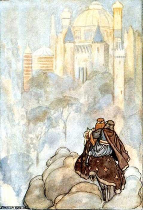 """Oisín y Niamh viajando hacia Tír na nÓg (""""La Tierra de los Jóvenes"""": otro mundo habitado por los Tuatha Dé Dannan), ilustración de Stephen Reid para el libro de T. W. Rolleston 'The High Deeds of Finn' (1910). (Public Domain) ¿Es posible que Ávalon estuviera basado en una idea similar?"""