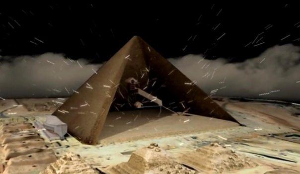 Partículas cósmicas atravesando la estructura de una pirámide (representación artística). (Scan Pyramids)