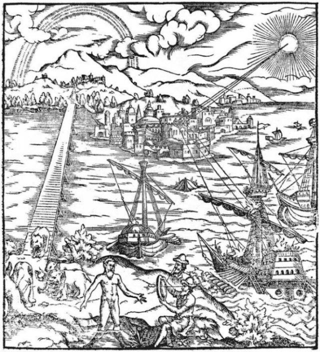 """Portada de una versión en latín del """"Tesoro de la Óptica"""" (Opticae Thesaurus). En la ilustración podemos observar cómo Arquímedes incendia las naves romanas ante Siracusa con la ayuda de espejos parabólicos. (Dominio público)"""