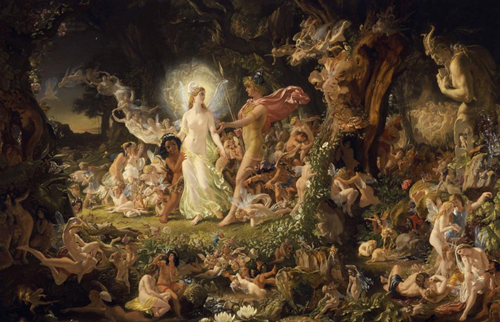 El reino sobrenatural de las hadas: 'El litigio de Titania y Oberón'. Óleo de Joseph Noel Paton. (Public Domain)