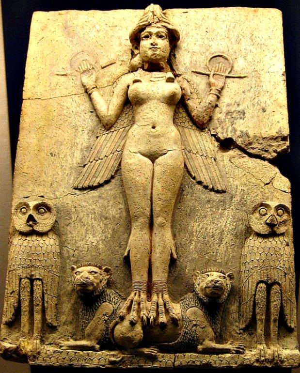 """Representación de Inanna/Ishtar conocida como """"Relieve Burney: La Reina de la Noche"""". (Siglos XIX-XVIII a. C.). Museo Británico de Londres, Inglaterra. (Public Domain)"""