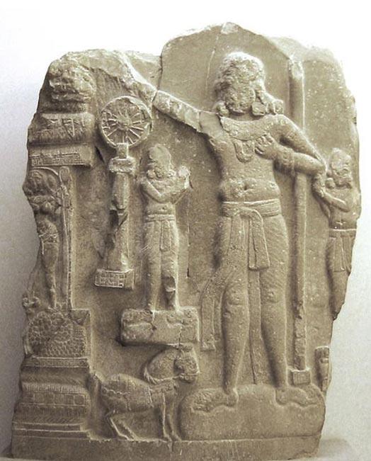 Relieve indio de Amaravati, distrito de Guntur (India). La figura central podría representar al emperador Ashoka. (CC BY SA 3.0)