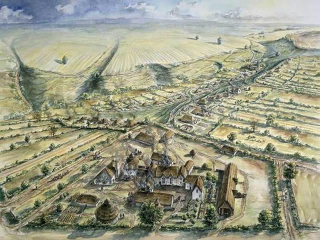 Representación artística de la aldea de Wharram Percy, donde se encontraron los huesos mutilados y quemados objeto del reciente estudio. (Historic England/PA Wire)