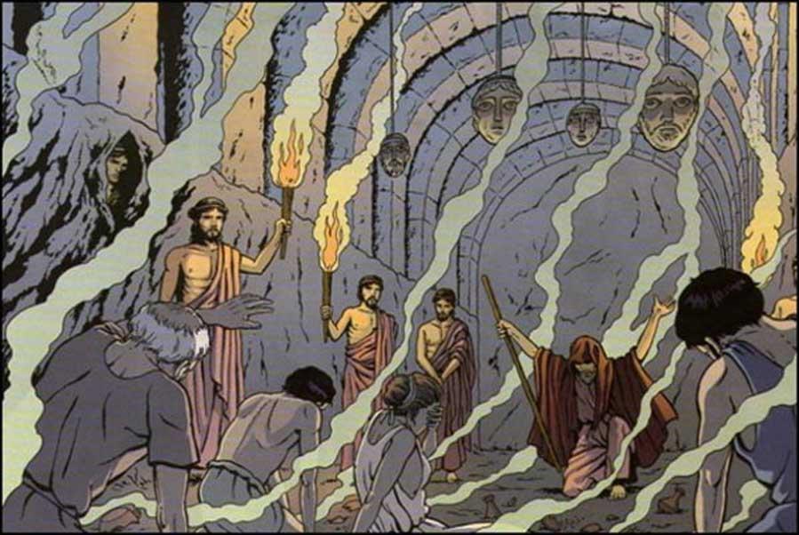 """Representación artística de un ritual celebrado en el interior del Necromanteion. Ilustración del cómic de Marc Jailloux """"Orión: Los Oráculos"""", 2011."""