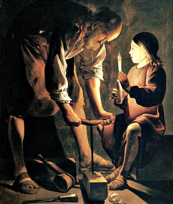 San José carpintero, óleo sobre lienzo pintado en la década de 1640 por el artista francés Georges de La Tour. Museo del Louvre, París. (Public Domain)