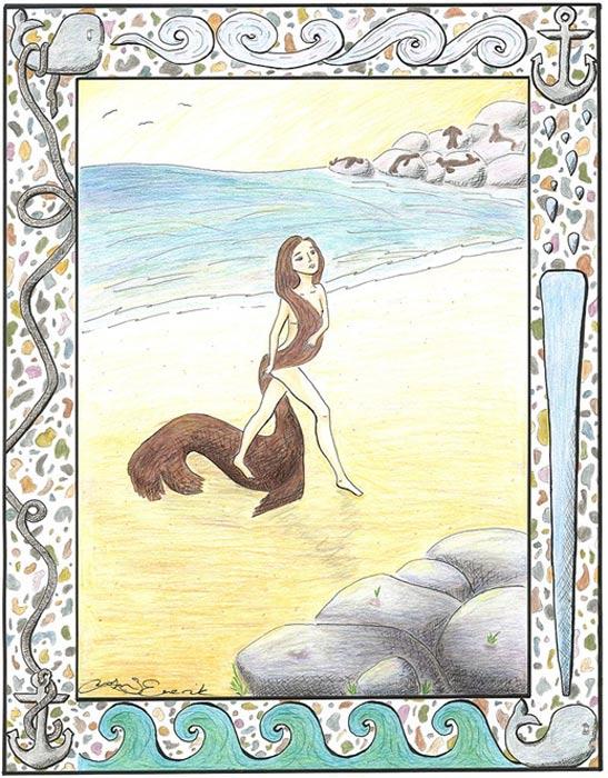 Selkie desprendiéndose de su piel de foca en una playa. (CC BY-SA 3.0)