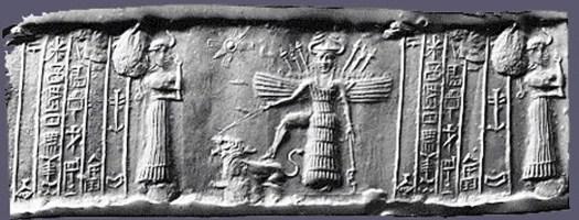 Sello cilíndrico en el que aparece representado el descenso de Inanna al inframundo (The Oriental Institute, Universidad de Chicago)