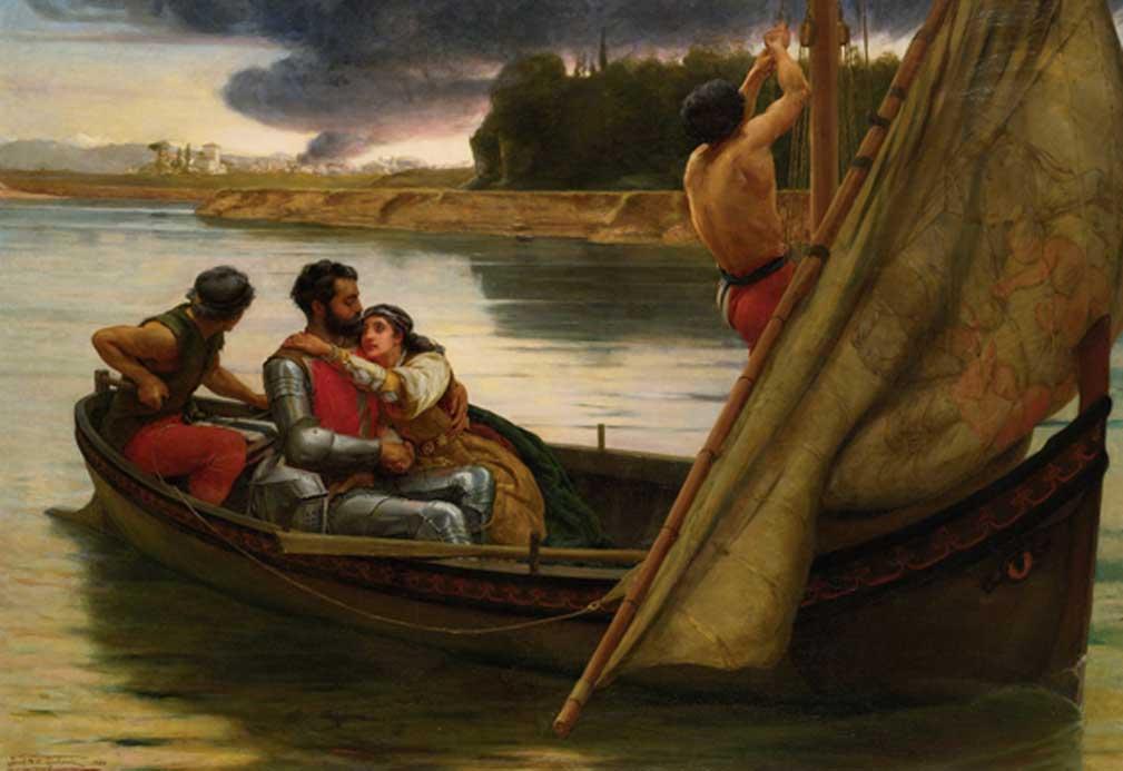 Travesía del Rey Arturo y Morgana Le Fay rumbo a la isla de Avalon, óleo de Frank William Warwick Topham (1838-1924). (Public Domain)