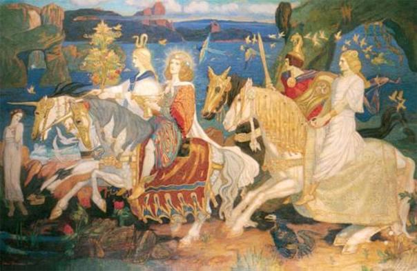 "Los Tuatha Dé Danann en la témpera de John Duncan ""Los jinetes del Sidhe"" (1911). (Public Domain)"