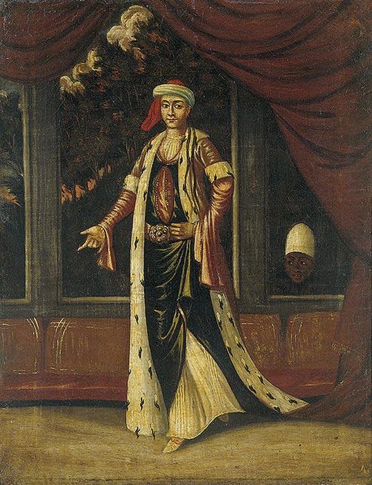 Retrato de una Valide Sultán. A la derecha se puede observar a uno de los eunucos negros del harén. (Public Domain)
