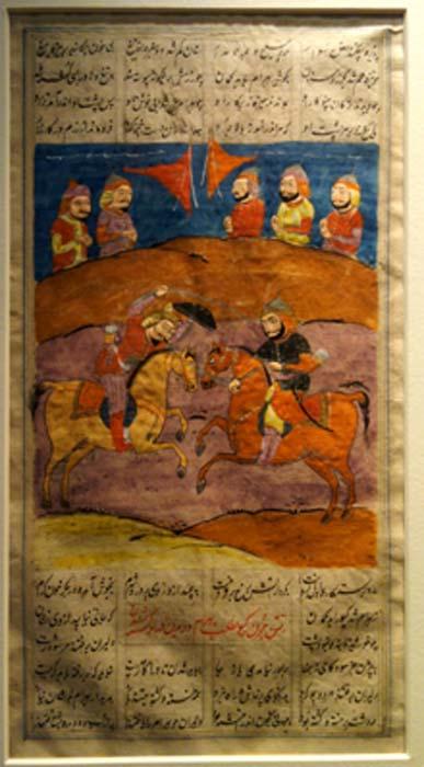 Combate entre dos guerreros montados, artista desconocido, Turquía, 1550-1600 AD (dominio público)