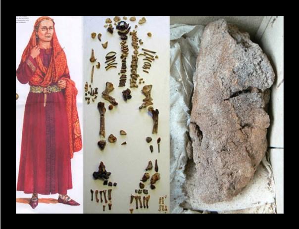 Portada-Izquierda, representación artística de la reina Arnegunda tal y como fue enterrada (Siglindesarts's Blog). Centro: restos óseos de la reina. Derecha, pulmón momificado. (L. Brossard/Inrap)