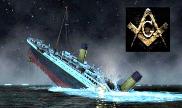Portada-Fotomontaje artístico del hundimiento del Titanic. Arriba a la derecha, símbolo masónico: el compás, la escuadra y la 'G'. (Fotografía: la Gran Época)