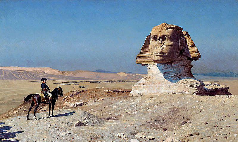 Napoleón contemplando la Gran Esfinge, semienterrada por las arenas del desierto. Óleo de Jean-Léon Gérôme (1867-1868).(Wikimedia Commons)