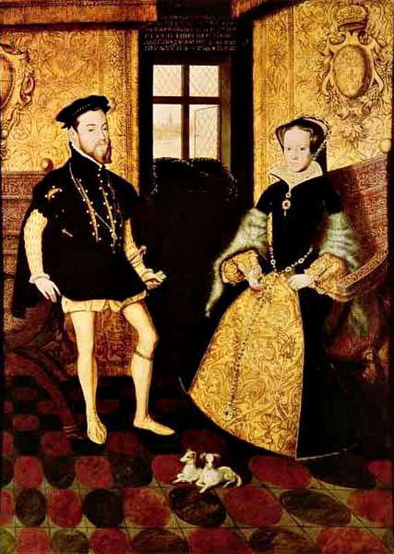 Retrato de María I de Inglaterra junto a su esposo Felipe de España. La pareja sólo convivió alrededor de 15 meses. Obra de Hans Eworth. (Wikimedia Commons)