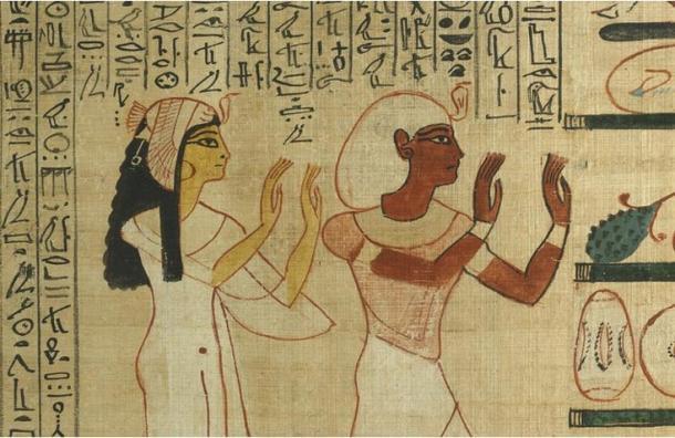 Nedjmet y Herihor honrando al dios Osiris en el más allá, papiro del Libro de los Muertos de Nodjmet (1050 a.C.) Museo Británico