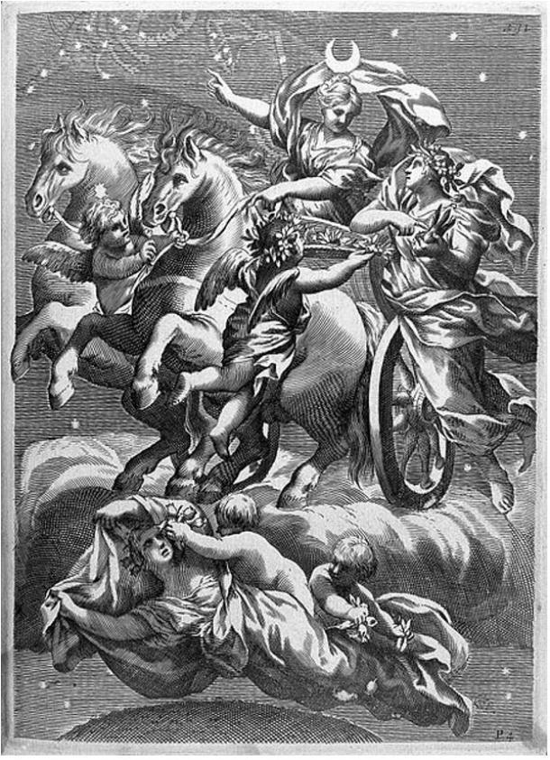 Selene, diosa griega de la luna, en un carruaje volador con dos caballos blancos. Ella y su hermano Helios el dios del sol, a menudo están en escenas míticas, dando una indicación del pasaje del tiempo.