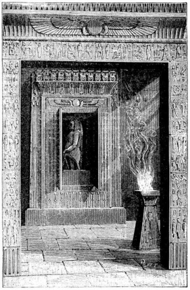 """Puertas de los Templos se abrían cuando se encendía un fuego sobre el altar, ilustrado en el libro """"Magia, Ilusiones de Escenario y Diversiones Científicas Incluyendo Trucos Fotográficos."""""""