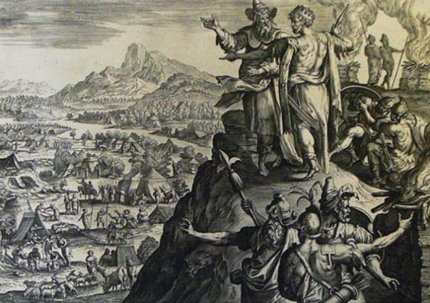 Balac (con una corona) con Balaam. (La imagen de Phillip Medhurst Torá 580. Los sacrificios de Balak /CC BY-SA 3.0)