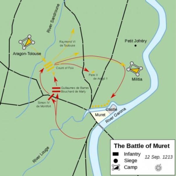 Curso de la Batalla de Muret, que condujo a la derrota de los cátaros. (Macesito / CC BY-SA 4.0)
