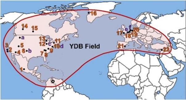 Distribución de la frontera de las Dryas más jóvenes. (Imagen cortesía del autor del Comet Research Group suministrada)