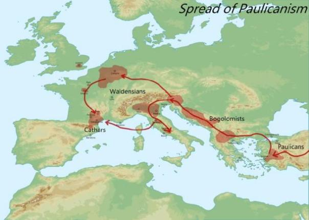 Mapa que muestra la propagación del paulianismo en toda Europa, el comienzo de los cátaros. (Aldan-2 / CC BY-SA 4.0)