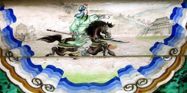 """Un mural de """"Riding Alone For Thousands of Miles"""" de Guan Yu (千里 走 單騎) en el Palacio de Verano, Beijing. (Shizhao / CC BY SA 1.0)"""